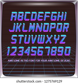 Virtual Reality Retro Futuristic Font. Stylish Retro Synth Wave