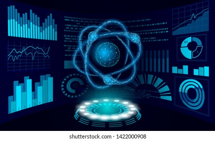 Virtual reality science research concept. HUD display work on project augmented reality. 3D atom particle physics data analysis digital device. Online medicine technology vector illustration