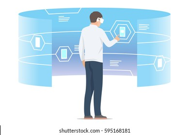 Virtual reality shopping. Man looking at digital interface with gadgets. Isolated vector illustration