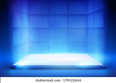 Virtual reality. Smartphone light screen. Computer or tablet display. Blue background. Vector illustration.