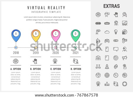 virtual reality timeline infographic template elements stock vector