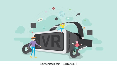 Virtual Reality Tiny People Character Concept Vector Illustration, Suitable For Wallpaper, Banner, Background, Card, Book Illustration, Web Landing Page, and Other Related Creative