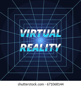Virtual Reality vector illustration in retro style. Vintage Sci-Fi background with VR tunnel and bright grid. Concept of computer epoch in 80s and 90s.