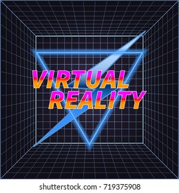 Virtual Reality Vector Illustration in Retro Style. Vintage Sci-Fi Background. VR Room with Bright Grid. Concept of Computer Epoch in 80s and 90s.