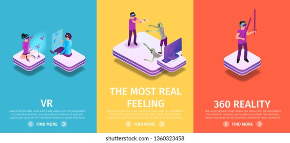 Virtual Reality Vertical Banners Set on Colorful Background with Copy Space. People Playing VR Games. Man in Goggles Holding Swords. VR and Augmented Reality. 3d Flat Vector Isometric Illustration