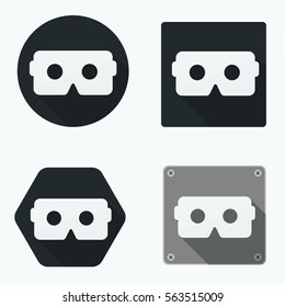 Virtual Reality VR black flat icon set