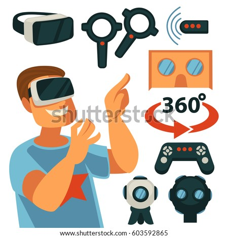 6f0b29d587b Virtual Reality or VR game devices and gadgets flat vector icons. Internet  gamer in 3D cardboard glasses
