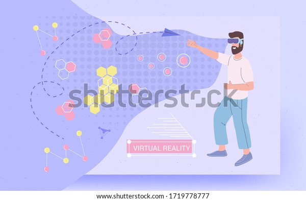 Virtual Reality Vr Glasses Invented World Stock Vector