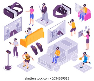 Virtual reality vr immersive experience simulators portable gadgets training activities headsets displays isometric icons collection vector illustration