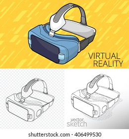Virtual reality VR. Original stereoscopic 3d vr headset. VR goggless. AR. Augmented reality.