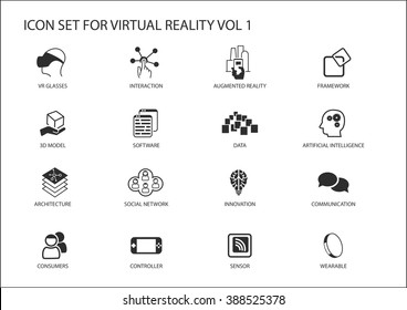 Virtual Reality (VR) vector icon set. Multiple symbols in flat design like virtual reality glasses, augmented reality, sensor, interaction, 3d model