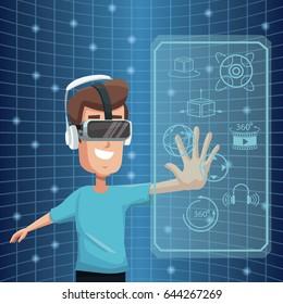 virtual reality wearing goggle 360 degree vision digital