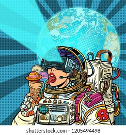 Virtual reality. Woman astronaut and space dreams. Woman astronaut eats planets of the solar system, like ice cream. Humanity and cosmic dreams concept. Pop art retro vector illustration vintage
