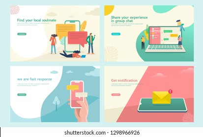 virtual relationship vector illustration concept,group of people chat on social media , people hand typing on smartphone can use for, landing page, template, ui, web, mobile app, poster, banner, flyer