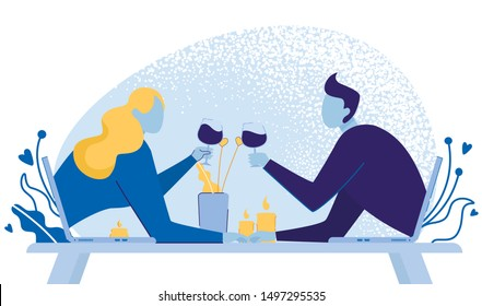 Virtual Relationships, Internet Dating Chat Using Gadgets such as Laptops Flat Cartoon Vector Illustration. Man and Woman Having Romantic Dinner with Wine Glasses and Burning Candels.
