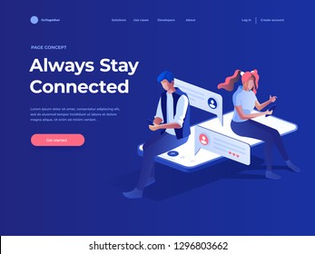 Virtual relationships, online dating and social networking concept - teenagers chatting on the Internet. Vector 3d isometric illustration. Landing page concept