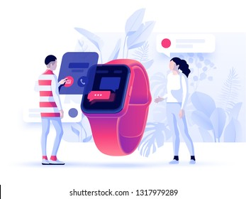 Virtual relationships, online dating and social networking concept - teenagers chatting on the Internet. Vector 3d illustration. Header concept