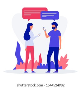 Virtual relationships, online dating and social networking concept - teenagers chatting on the Internet. Vector flat isometric illustration. Landing page concept