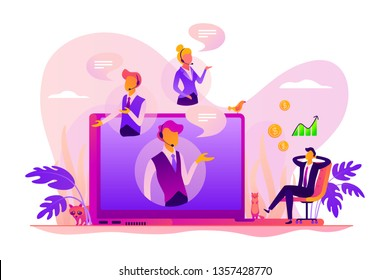 Virtual sales, remote sales method, virtual sales team and assistants working remotely concept. Vector isolated concept illustration with tiny people and floral elements. Hero image for website.