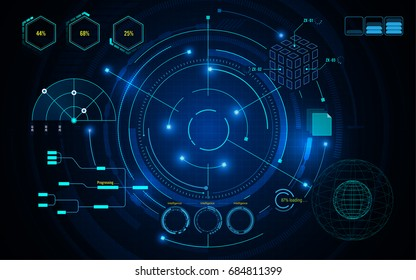 virtual sci fi circle hud ui scanning futuristic concept template background