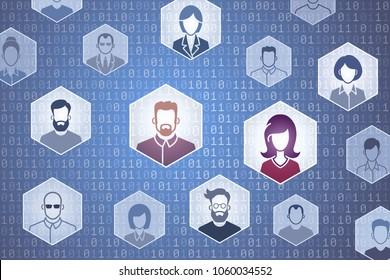 Virtual Social Network. Vector illustration on the subject of 'Digital Technologies'.
