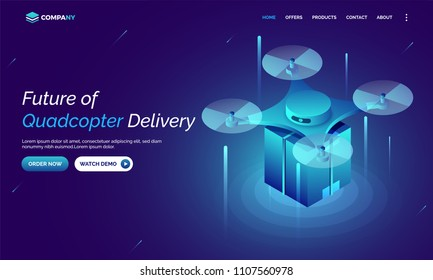 Virtual structure of quadcopter with shipping box, Landing page for website and mobile app for future Drone delivery concept.