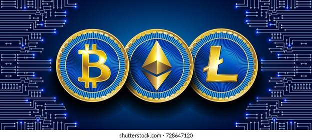 Virtual symbols of the coin bitcoin, litecoin and ethereum on electronic circuit background. Crypto currency.