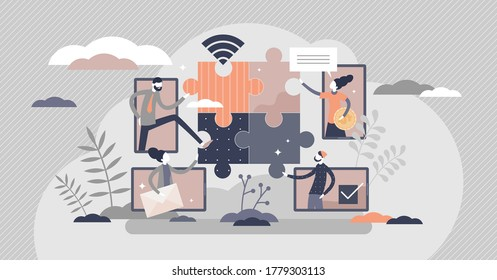 Virtual teams distance working as puzzle solving scene tiny persons concept. Collaboration using communication technologies vector illustration. Abstract symbolic teamwork with remote office strategy.