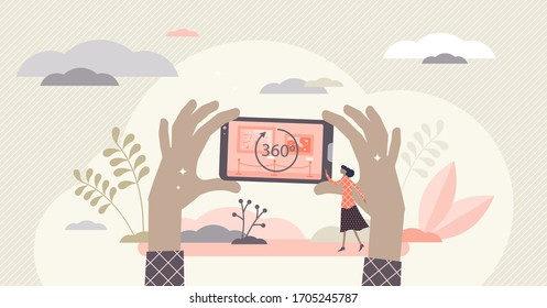 Virtual tour vector illustration. 360 round symbol flat tiny person concept. Panorama circle sign for digital museum and business places. Perspective simulation with distance online application scene.