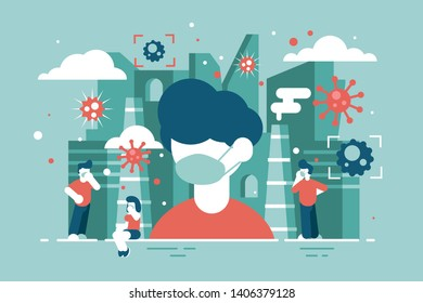 Virus attacks people vector illustration. Men and women wearing medical mask to avoiding infection flat style concept. Population during epidemic of disease