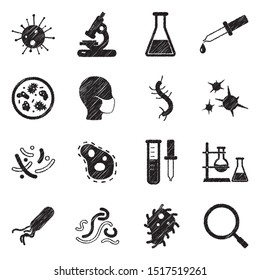 Virus And Bacteria Icons. Black Scribble Design. Vector Illustration.
