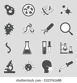 Virus And Bacteria Icons. Sticker Design. Vector Illustration.
