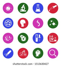 Virus And Bacteria Icons. White Flat Design In Circle. Vector Illustration.