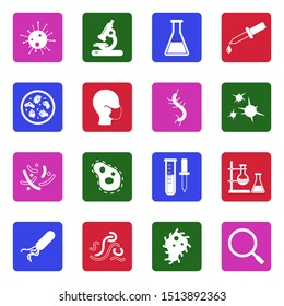 Virus And Bacteria Icons. White Flat Design In Square. Vector Illustration.