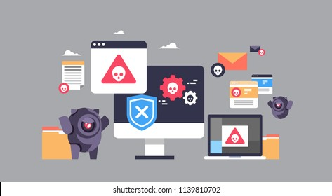 virus bot robot hacker danger piracy error background pirate attack artificial intelligence concept flat horizontal banner vector illustration