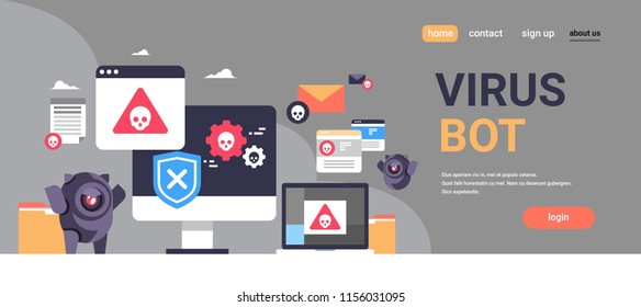 virus bot robot hacker danger piracy error background pirate attack artificial intelligence concept flat horizontal banner copy space vector illustration