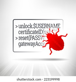Virus Bug. Code hacking concept. Red bug crawling on top of security information code. Fully scalable vector illustration.