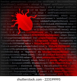 Virus Bug. Hacking concept. Red bug crawling on top of code. Fully scalable vector illustration.