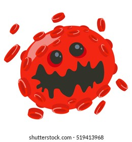 Virus cartoon character. Cute red micro bacteria illustration isolated on white background. Microbe, pathogen, germ icon. Vector monster.