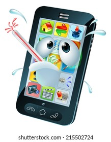 Virus cartoon mobile phone. Cartoon of an unwell sweating mobile phone with a bursting thermometer in its mouth. Could be a broken mobile or one that has a virus or other malware