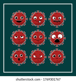 Virus corona cell cartoon cute character design with emotions face. Virus with facial expression. Set of cute viruses with expressions. Illustration vector