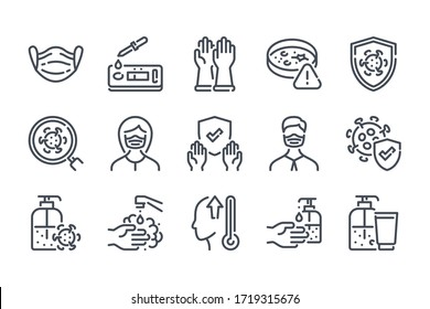 Virus and coronavirus related line icon set. Covid-19 prevention linear icons. Medical mask and Covid test outline vector signs and symbols collection.