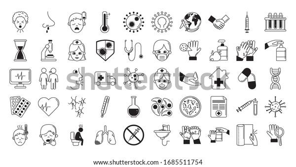 virus covid 19 pandemic respiratory illness icons set vector illustration line style
