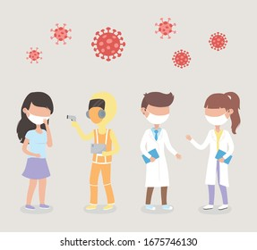 virus covid 19 quarantine, sick woman staff doctor wirh protective suit mask coronavirus symbol vector illustration