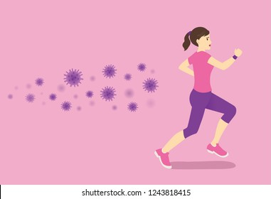 Virus and germ follow up healthy Woman while she trying run away. Concept illustration about health care with workout.