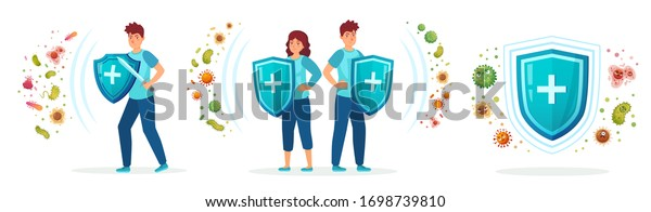 Virus germs and bacteria protection. Healthy immune system, adult man and woman protected from viruses and bacterias by immunity shield vector iilustration set. Person resistant and prevention disease