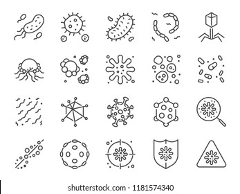 Virus icon set. Included icons as Colony of Bacteria, Bacteria, microbiology, biohazard, disease and more.