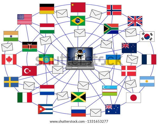 Virus Infections Crime By Hackers Globally Stock Vector