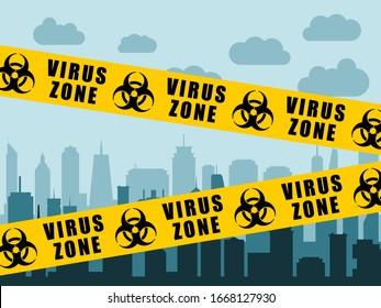 Virus lockdown barrier tape over city. Coronavirus pandemic.