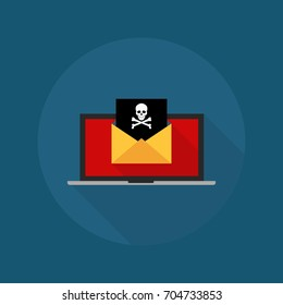 Virus, malware, email fraud, e-mail spam, phishing scam, hacker attack concept.Laptop and envelope with black document and skull icon. Trendy flat design graphic with long shadow. Vector illustration